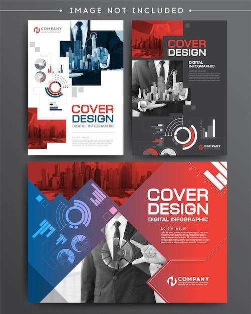 Ensemble de business couverture brochure modèle numérique infographique Vecteur Premium