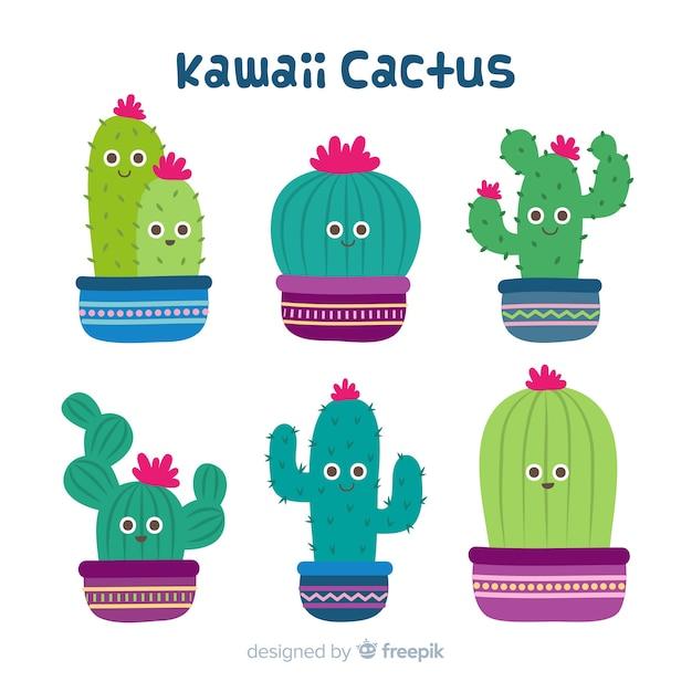 Ensemble de cactus kawaii dessinés à la main Vecteur gratuit