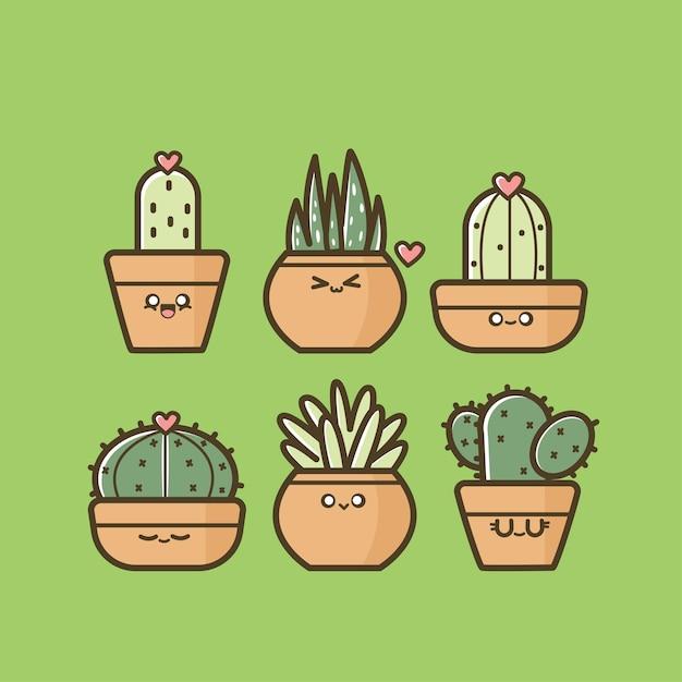 Ensemble De Cactus Mignon Vecteur Premium