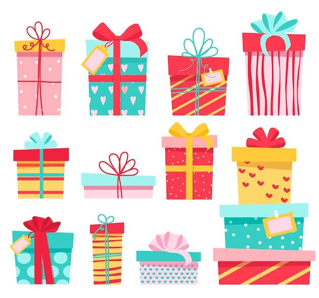 Un Ensemble De Cadeaux Colorés, De Nombreuses Boîtes Mignonnes Différentes Avec Des Arcs. Vecteur Premium
