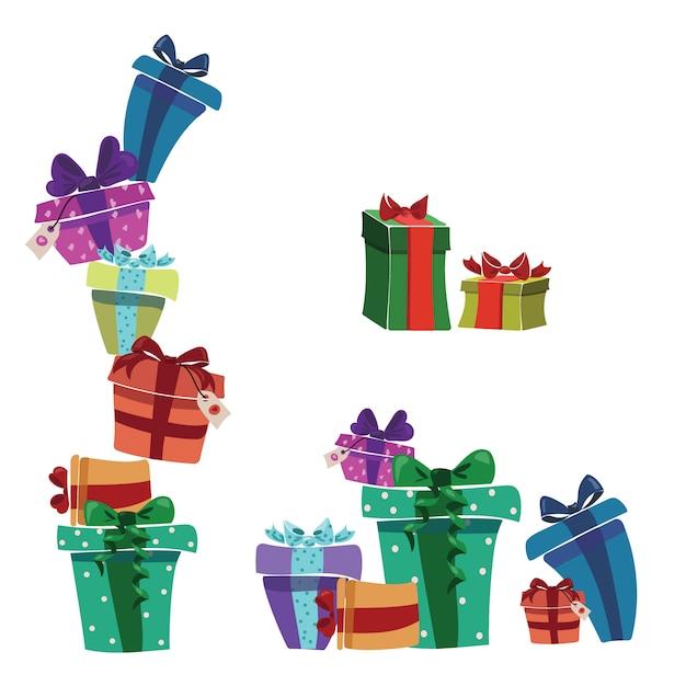 Ensemble De Cadeaux De Noël Dans Des Boîtes. Collection De Cadeaux Emballés Colorés. Vecteur Premium