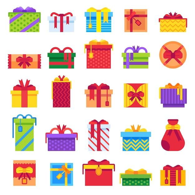 Ensemble De Cadeaux De Noël Plat Vecteur Premium