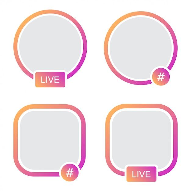 Ensemble de cadre d'avatar d'icônes. hashtag live stories en streaming vidéo Vecteur Premium
