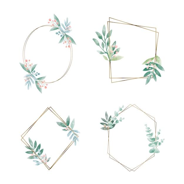 Ensemble de cadre géométrique avec vecteur de feuilles Vecteur gratuit