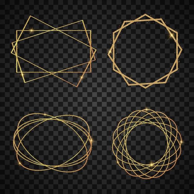 Ensemble De Cadre De Luxe Doré Géométrique Réaliste élégant Avec Style Art Déco Effets De Lumière. Bannière Brillante. Vecteur Premium