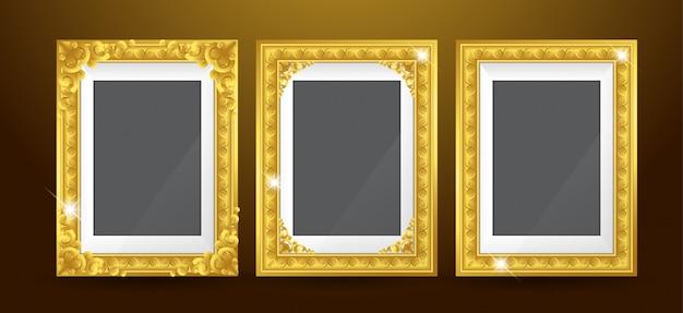 Ensemble de cadre photo en or Vecteur Premium