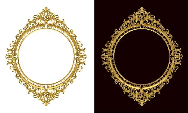 Ensemble De Cadre Photo Ovale Vintage Décoratif Et Bordure Vecteur Premium