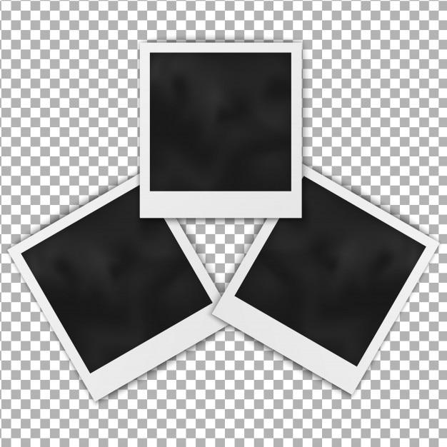 Ensemble de cadre polaroid cadre photo blanc réaliste isolé sur fond transparent. Vecteur Premium