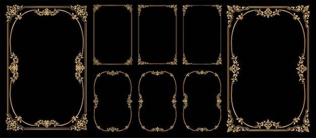 Ensemble De Cadres Et Bordures Sur Fond Noir, Cadre Photo Or Avec Coin Vecteur Premium