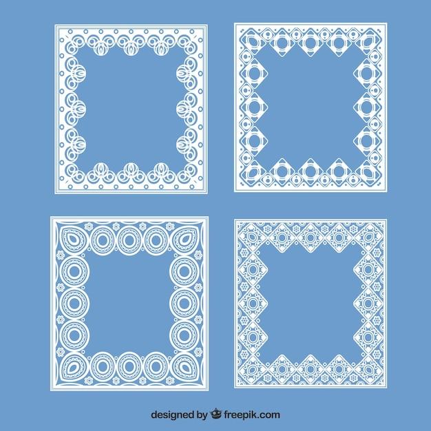 Ensemble de cadres carrés en dentelle Vecteur gratuit