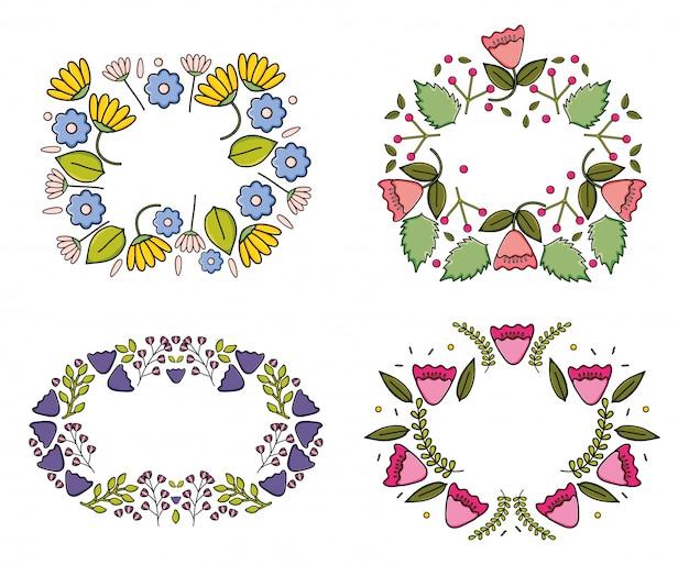 Ensemble de cadres décoratifs de plantes de jardin de fleurs Vecteur Premium