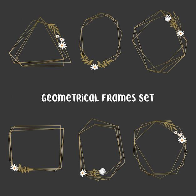 Ensemble de cadres dorés à feuilles géométriques Vecteur Premium