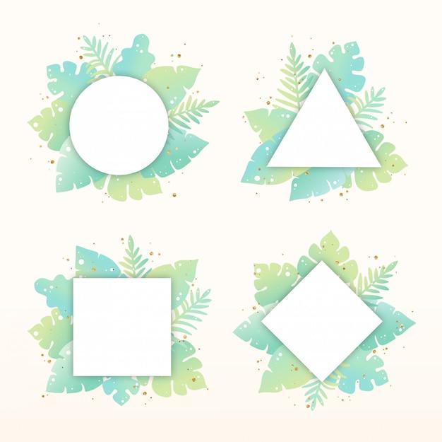 Ensemble de cadres de feuilles tropicales dessinés à la main Vecteur Premium
