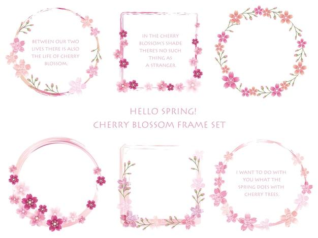 Ensemble De Cadres De Fleurs De Cerisier De Vecteur Avec Des Décorations Florales Vecteur gratuit