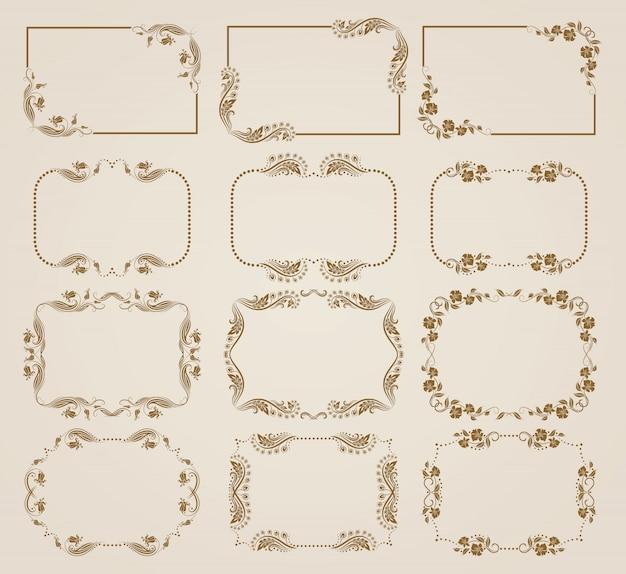 Ensemble de cadres floraux décoratifs. Vecteur Premium
