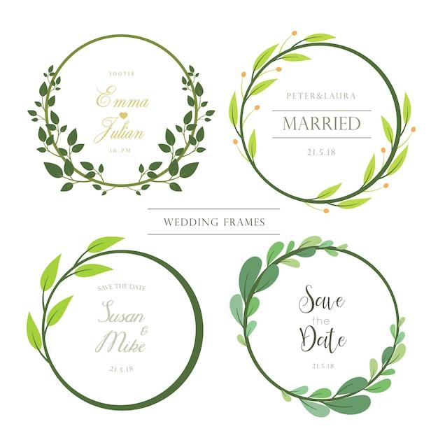 Ensemble de cadres d'invitation de mariage Vecteur Premium