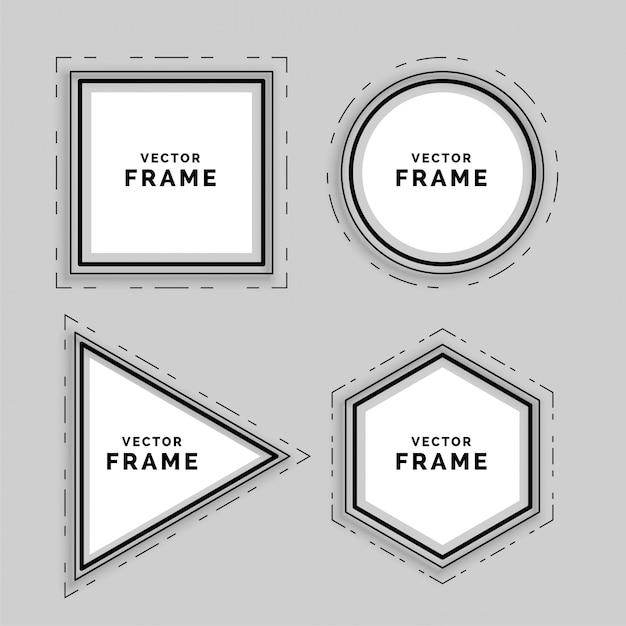 Ensemble de cadres de lignes abstraits géométriques Vecteur gratuit