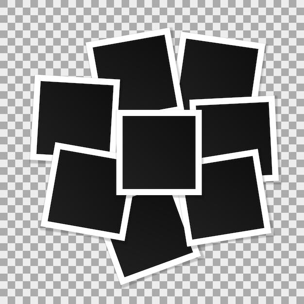 Ensemble de cadres de photo de vecteur carré. Vecteur Premium