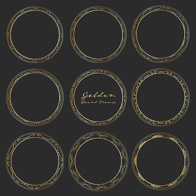 Ensemble de cadres ronds dorés pour la décoration. Vecteur Premium