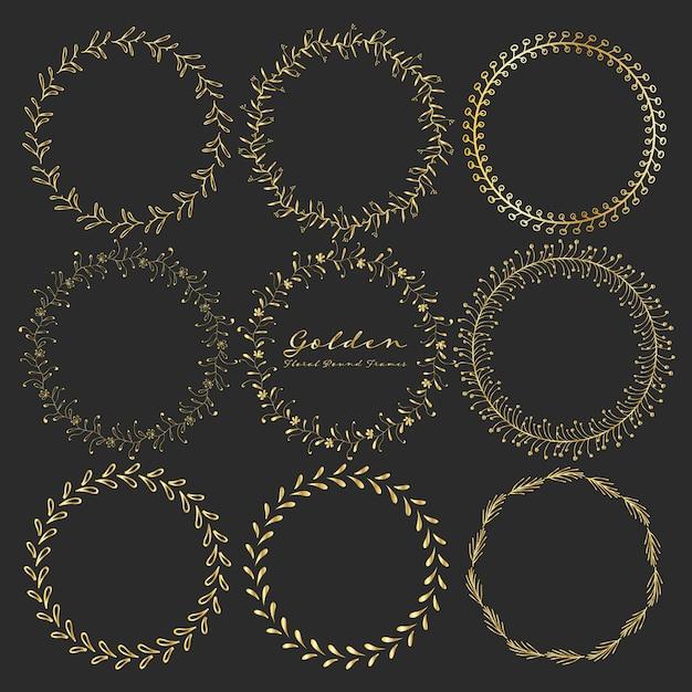 Ensemble de cadres ronds floraux dorés pour la décoration. Vecteur Premium