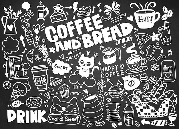 Ensemble De Café Dessiné à La Main Et De Délicieux Bonbons. Illustration Vecteur Premium