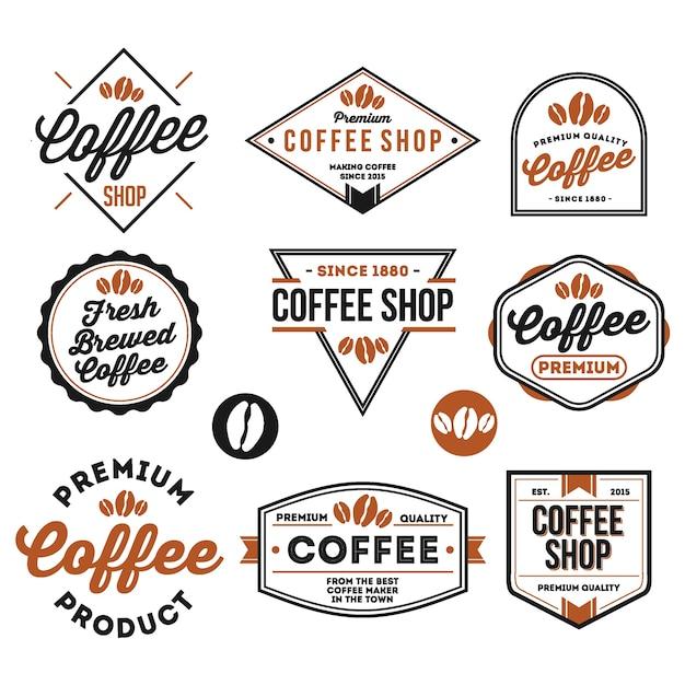 Ensemble de café et restaurant insigne isolé en blanc Vecteur Premium
