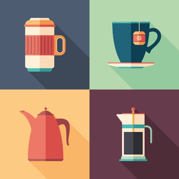 Ensemble de café et thé plat icônes carrées avec longues ombres. Vecteur Premium