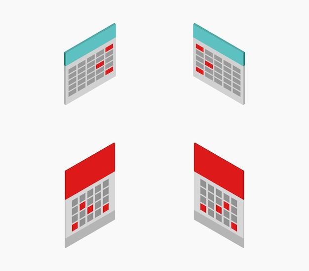 Ensemble de calendriers isométriques Vecteur Premium