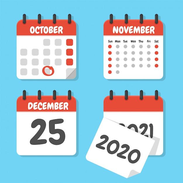 Ensemble De Calendriers Plat Pour Planifier Vos Rendez-vous à La Fin De L'année. Vecteur Premium