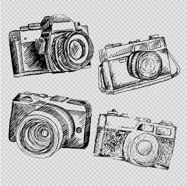Ensemble de caméra rétro dessiné à la main Vecteur Premium