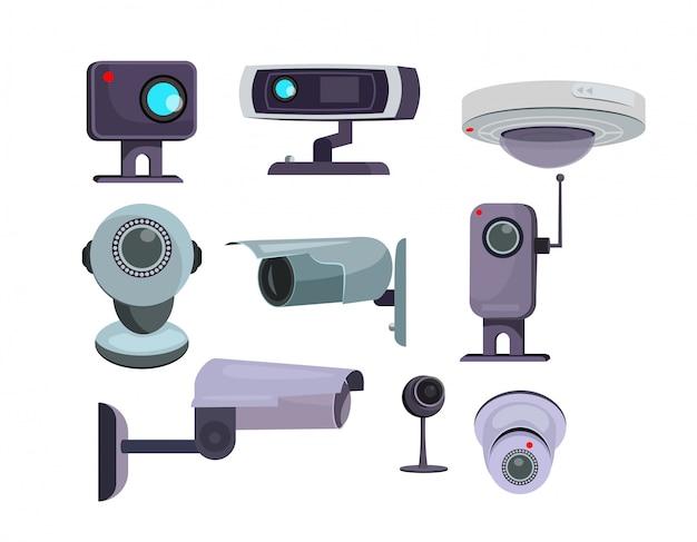 Ensemble de caméra de sécurité Vecteur gratuit