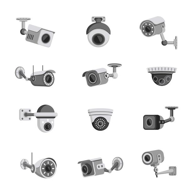 Ensemble De Caméras De Sécurité De Surveillance Isolé Sur Blanc Vecteur Premium