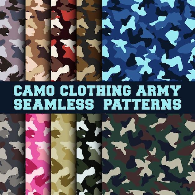 Ensemble de camouflage vêtements armée modèle sans couture Vecteur Premium