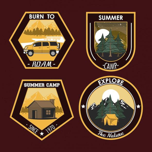 Ensemble de camping explorer les emblèmes de patchs d'été Vecteur gratuit