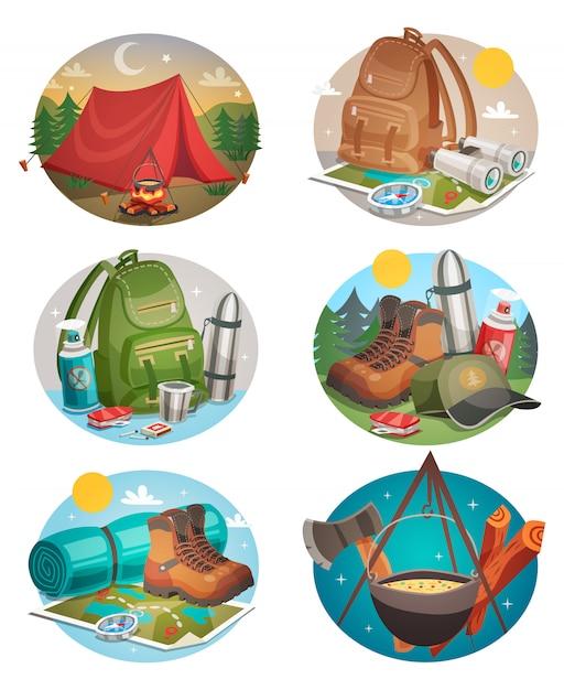 Ensemble de camping rond Vecteur gratuit
