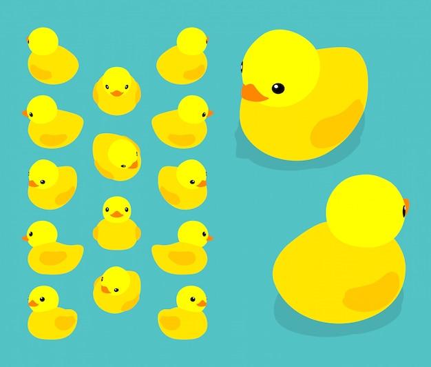 Ensemble des canards en caoutchouc jaune isométrique Vecteur Premium
