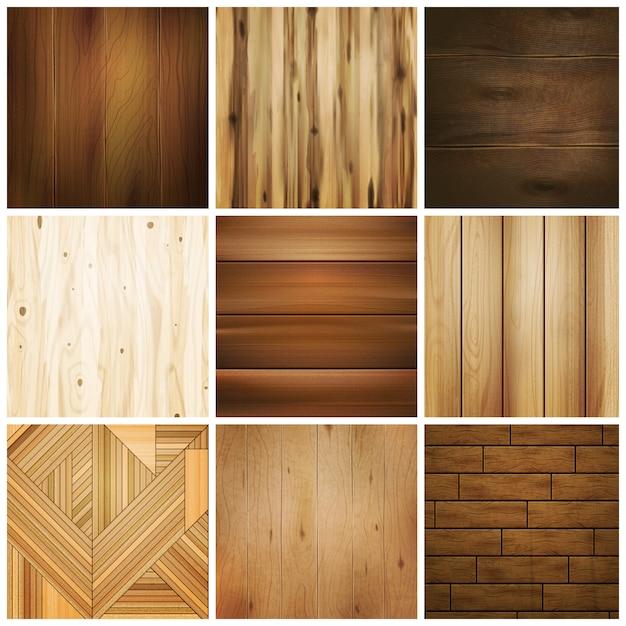 Ensemble de carreaux de sol en bois Vecteur gratuit