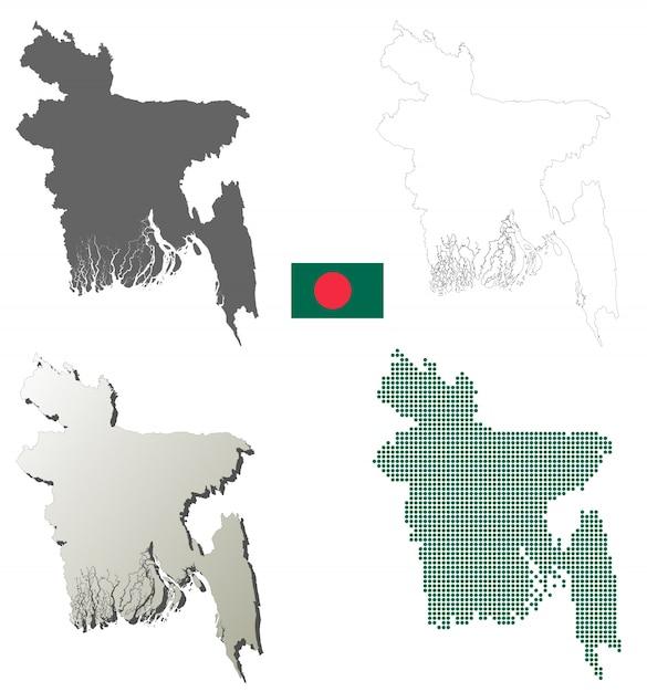 Ensemble De Carte De Contour De Vecteur De Bangladesh Vecteur Premium