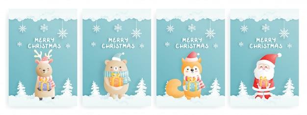 Ensemble De Carte De Noël Avec Personnage En Papier Découpé Vecteur Premium