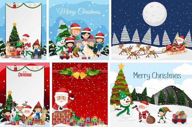Ensemble De Carte Postale De Noël Vierge Et Logo Isolé Vecteur Premium