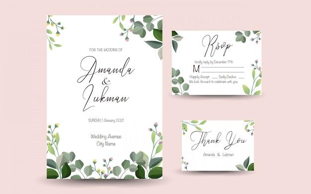 Ensemble De Carte De Voeux Décorative Ou Invitation Avec Floral Vecteur Premium