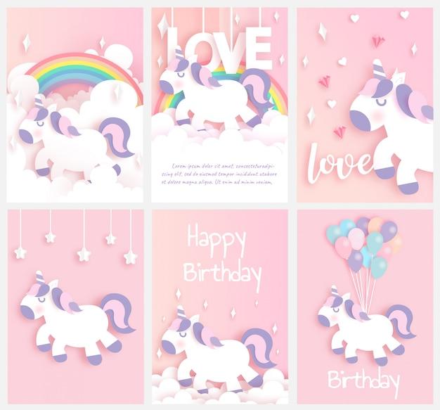 Ensemble de cartes d'anniversaire avec un joli papier de licorne coupé et style artisanal. Vecteur Premium