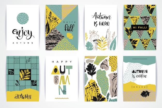 Ensemble de cartes d'automne créatives artistiques. Vecteur Premium