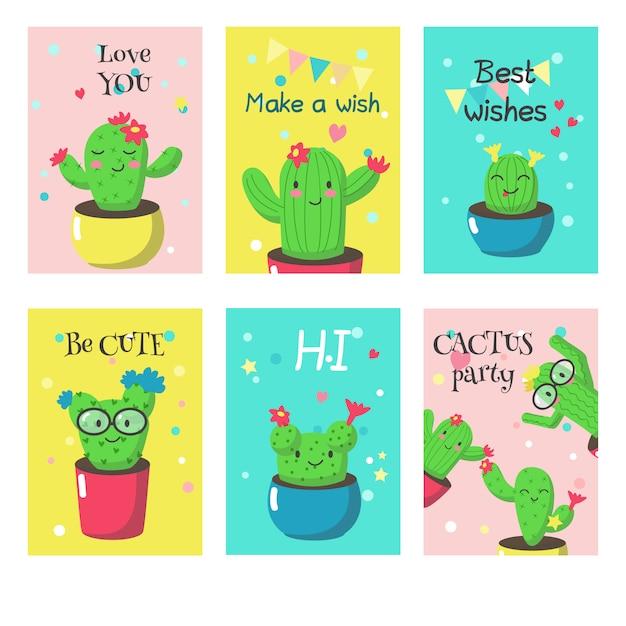 Ensemble De Cartes Avec Des Cactus Drôles Mignons Et Citations Vecteur Premium