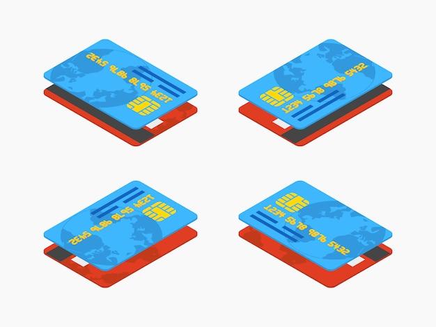 Ensemble des cartes de crédit isométriques rouges et bleues Vecteur Premium