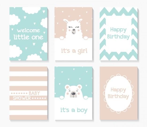 Un ensemble de cartes de douche de bébé mignon avec ours et lama. Vecteur Premium