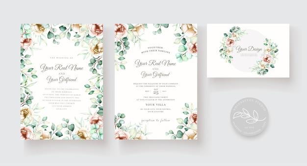 Ensemble De Cartes D'invitation De Mariage Aquarelle Eucalyptus Vecteur gratuit
