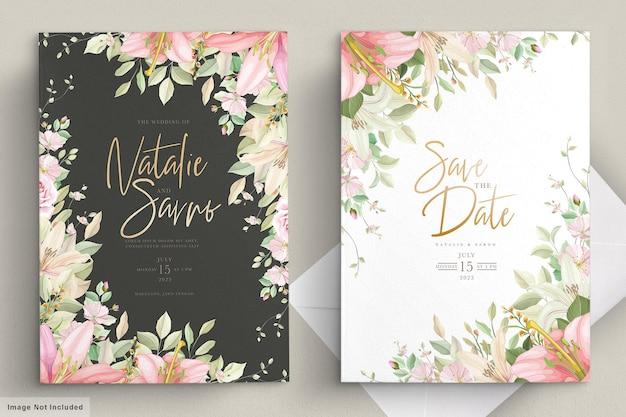 Ensemble De Cartes D'invitation De Mariage Floral Dessiné à La Main Vecteur gratuit