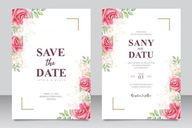 Ensemble de cartes d'invitation de mariage magnifique de roses rouges et aquarel blanc Vecteur Premium