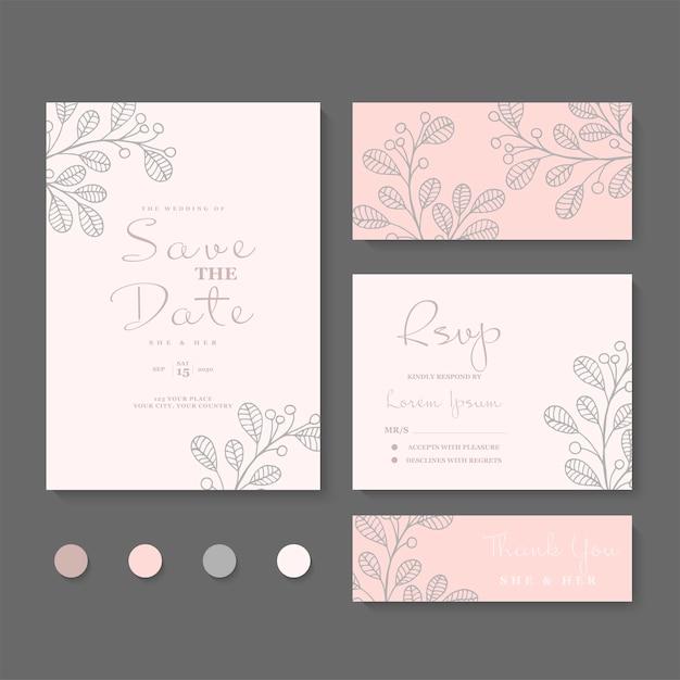 Ensemble De Cartes De Mariage Floral Vecteur gratuit
